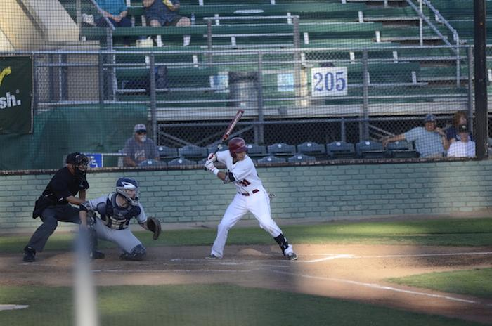 Junior infielder Andrew Carrillo bats against the the Cal State Monterey Bay Otters on March 27. Photo credit: Ryan Pressey