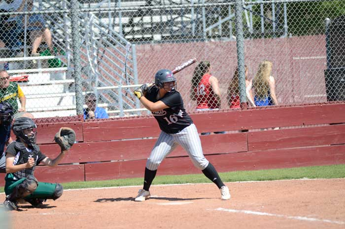 First baseman Desiree Gonzalez up to bat during the game against Humboldt State over the weekend. Photo credit: Ryan Pressey