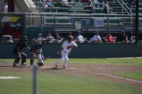 Senior third baseman Dylan Garcia hitting the ball against the Otters on March 27. Garcia was a perfect 4-for-4 against the Golden Eagles last Saturday. Photo credit: Ryan Pressey