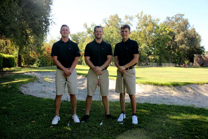 Chico State All-American golfers from left: Alistair Docherty, Lee Gearhart and Justin Wiles on Saturday, Aug. 29. Photo credit: Christine Zuniga