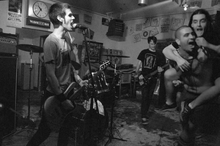 (From left) Bryan, bassist; Miles, guitarist and  Tommy, lead vocals with support from the  drummer of Tri-Lateral Dirts Commission perform their most popular song,