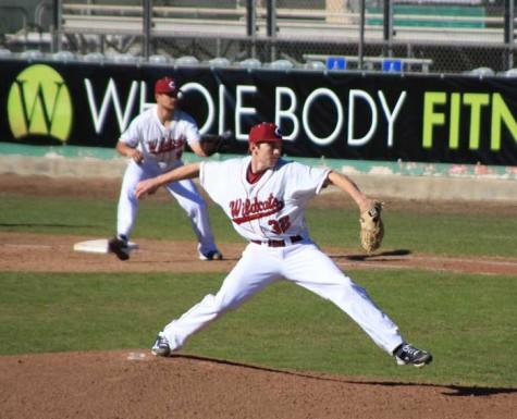 Junior pitcher Steven Baker throws a pitch against Menlo College on Jan. 31. Photo credit: Cam Lesslie