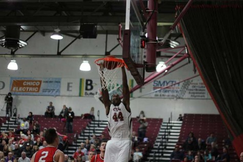 Sophomore Isaiah Ellis slams the ball during a game against Cal State East Bay in a game on Feb. 5. Photo credit: Jacob Auby