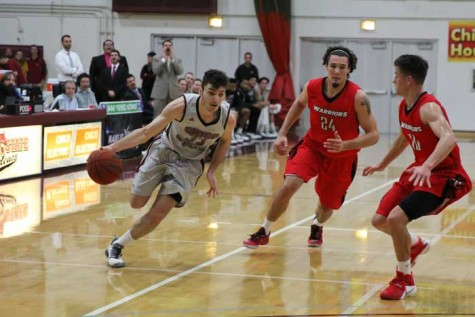 Sophomore guard Corey Silverstrom attacks the defense against Cal State Stanislaus on Jan. 30. Photo credit: Jordan Olesen