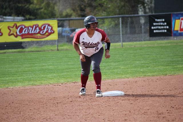 Senior Desiree Gonzalez prepares to run to third base during the game against Monterey Bay on Feb. 20.