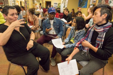Groups of students discuss diversity. Photo credit: Ryan Corrall
