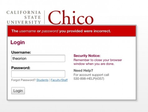 Screen captured from the Chico State portal website