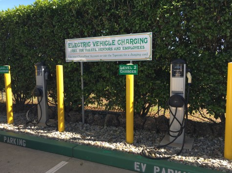 Charging stations provided at Sierra Nevada Brewery for clean energy cars. Photo credit: Kayla Fitzgerald