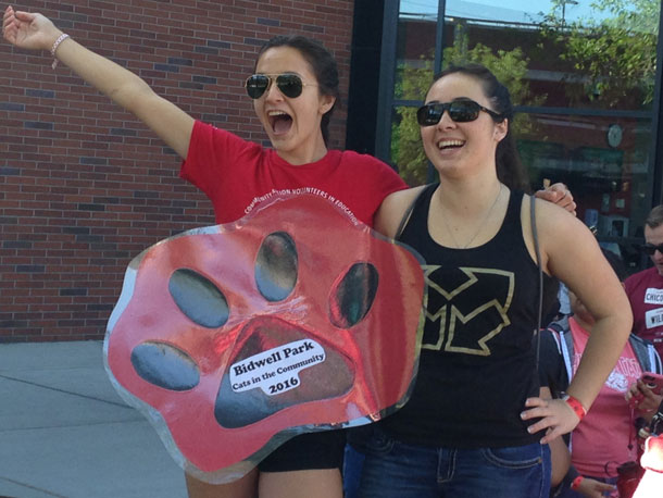 Nicole Beal, sophomore pre-nursing major, and Jenna Fletcher, junior health science administration major, are full of excitement as they prepare to head to Bidwell Park. Photo credit: Dominique Diaz