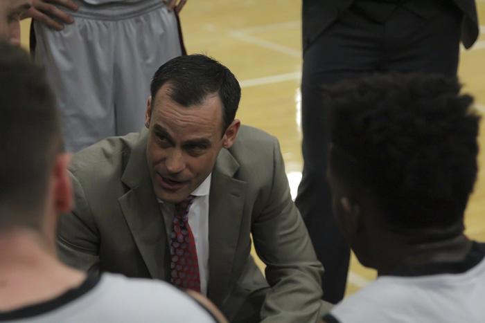 Head+coach+Greg+Clink+designs+a+play+in+the+CCAA+playoffs+against+Cal+State+L.A.+Photo+credit%3A+Jordan+Olesen
