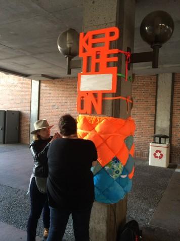 Performance art hugging Chico State
