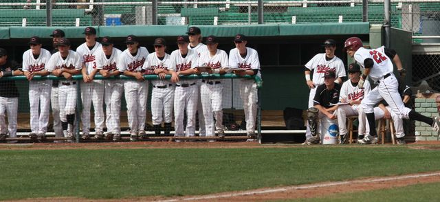 The Chico State dugout looks on after junior infielder Casey Bennett sprints to first. Photo credit: Allisun Coote
