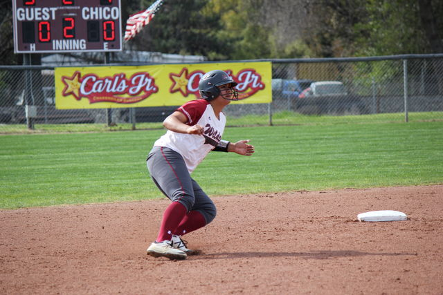 Senior Desiree' Gonzalez aggressively rounds second base in a game at home. Photo credit: Lindsay Pincus