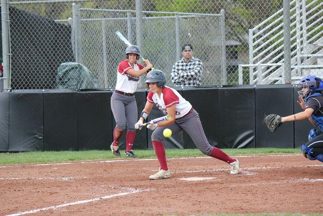 First-year Ari Marsh bunts the ball down the third baseline. Photo credit: Lindsay Pincus
