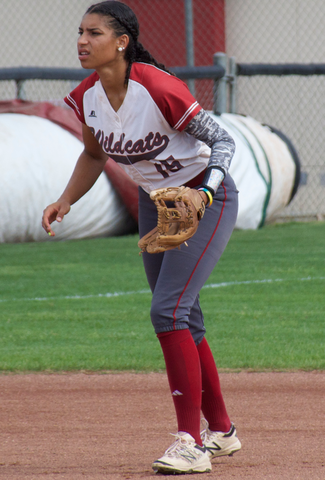 Junior Cailin Garmon gets ready for the ball in a game against Cal State Dominguez Hills. Photo credit: Nick Martinez-Esquibel