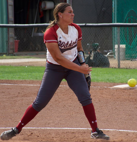 Sophomore Haley Gilham throws a pitch in a game against Cal State Dominguez Hills Photo credit: Nick Martinez-Esquibel