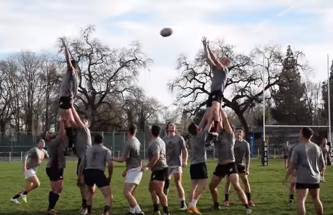 The rugby team has made the Pacific Western Rugby Conference playoffs four years in a row. Photo credit: Jordan Olesen