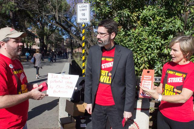 Chico State faculty shared information about the strike earlier this year. Photo credit: Ryan Corrall