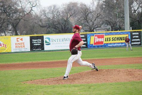 Junior pitcher Dalton Erb throws a ball during practice. Photo credit: Lindsay Pincus