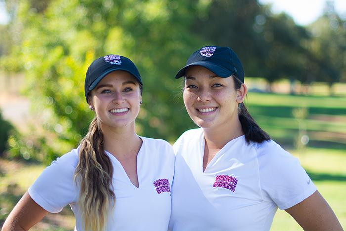 Senior golfers Dani O'Keefe and Bianca Amanini pose together before a practice. Photo credit: Alicia Brogden