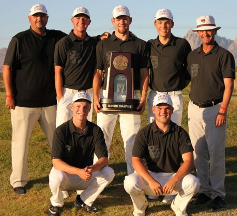 The Chico State golf team celebrates its regional championship. Photo credit: Chico Wildcats