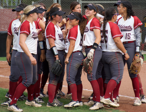 The Chico State softball team talk between innings in a game against Cal State Dominguez Hills. Photo credit: Nick Martinez-Esquibel