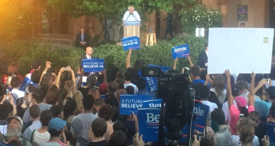 Close to 6,000 people came to see Bernie Sander speak at Chico State Photo credit: Elizabeth Helmer