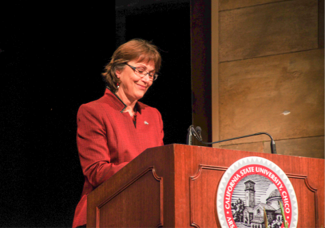 President Gayle Hutchinson delivers her convocation speech on Aug. 18.