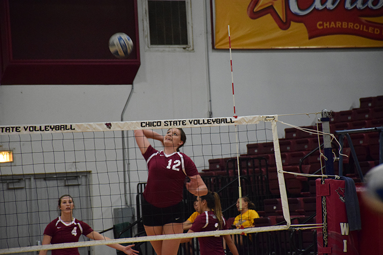First year outside hitter Camryn Rocha practices serving the ball during practice. Photo credit: Royal T Lee-Castine