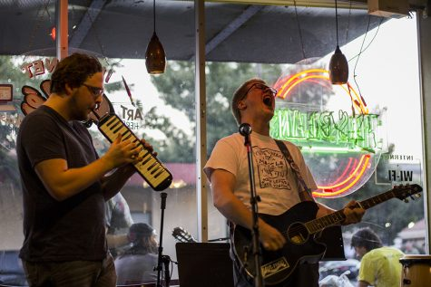 Alex and Ryan getting down and putting on a show for the somewhat lax audience. Photo credit: Jordan Rodrigues