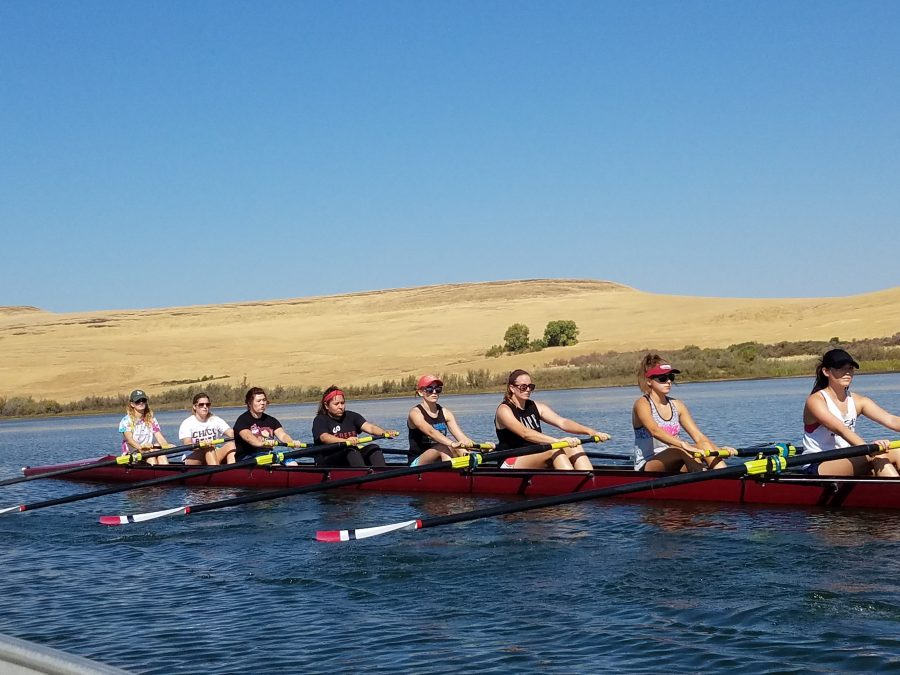 The rowing team trains for an eight person competition. Photo credit: Kenta Mcafee
