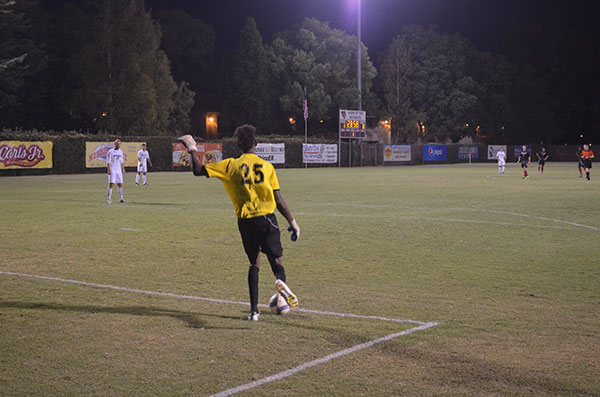 Chico State goal keeper Damion Lewis leads his team after making a save. Photo credit: Jordan Jarrell
