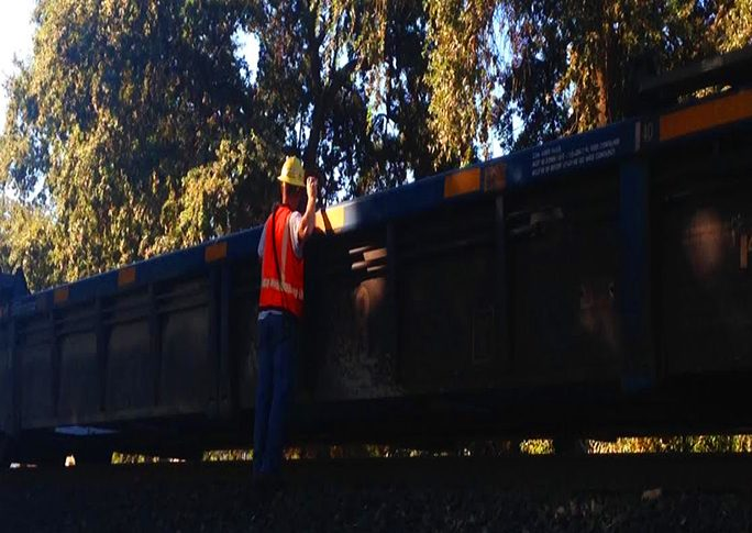 Union Pacific employee works to get the train moving again Photo credit: George Johnston