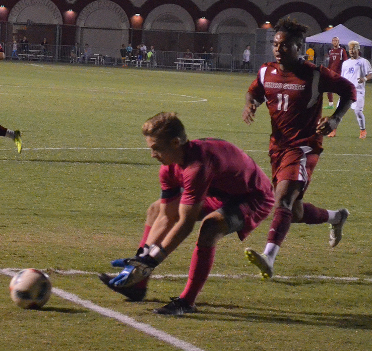 Chico State makes a save during the 'Cats home game. Photo credit: Jordan Jarrell