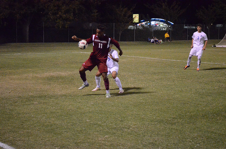 Senior forward Rajaee DeLane juggles the ball away from a defender during a 'Cats home game. Photo credit: Jordan Jarrell