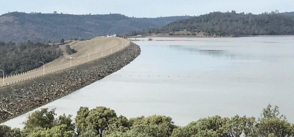 A view of Oroville Dam as lake levels recede from 901 feet on Feb. 12. Photo credit: Forrest Hartman