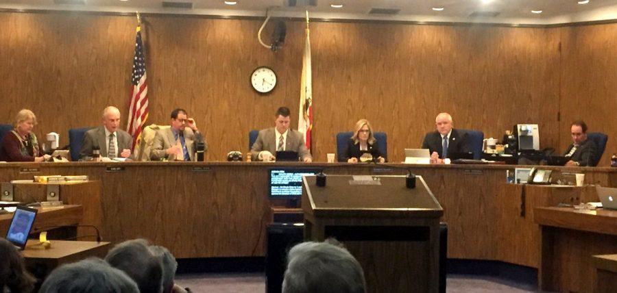 Chico City Council at Tuesday's meeting. Photo credit: Bianca Quilantan