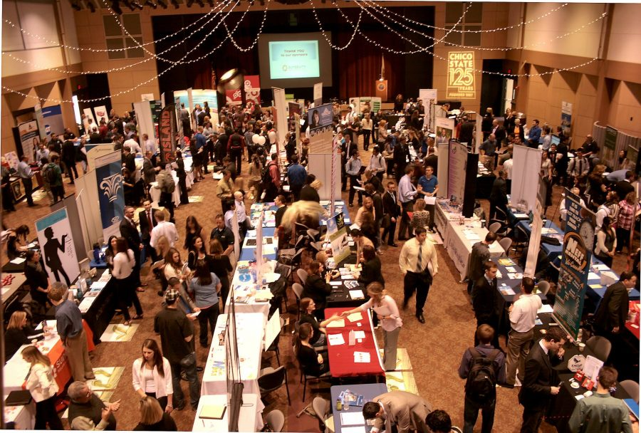 Past career fairs at Chico State. Photo courtesy of the Career Center.