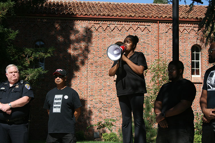 Egypt Howard on campus at the #BlackInChico protest Sept. 26. Photo credit: Bianca Quilantan