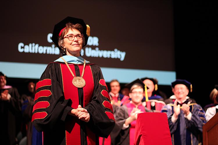 Chico State President Gayle Hutchinson gives a speech during her inauguration. Photo credit: Miguel Orozco