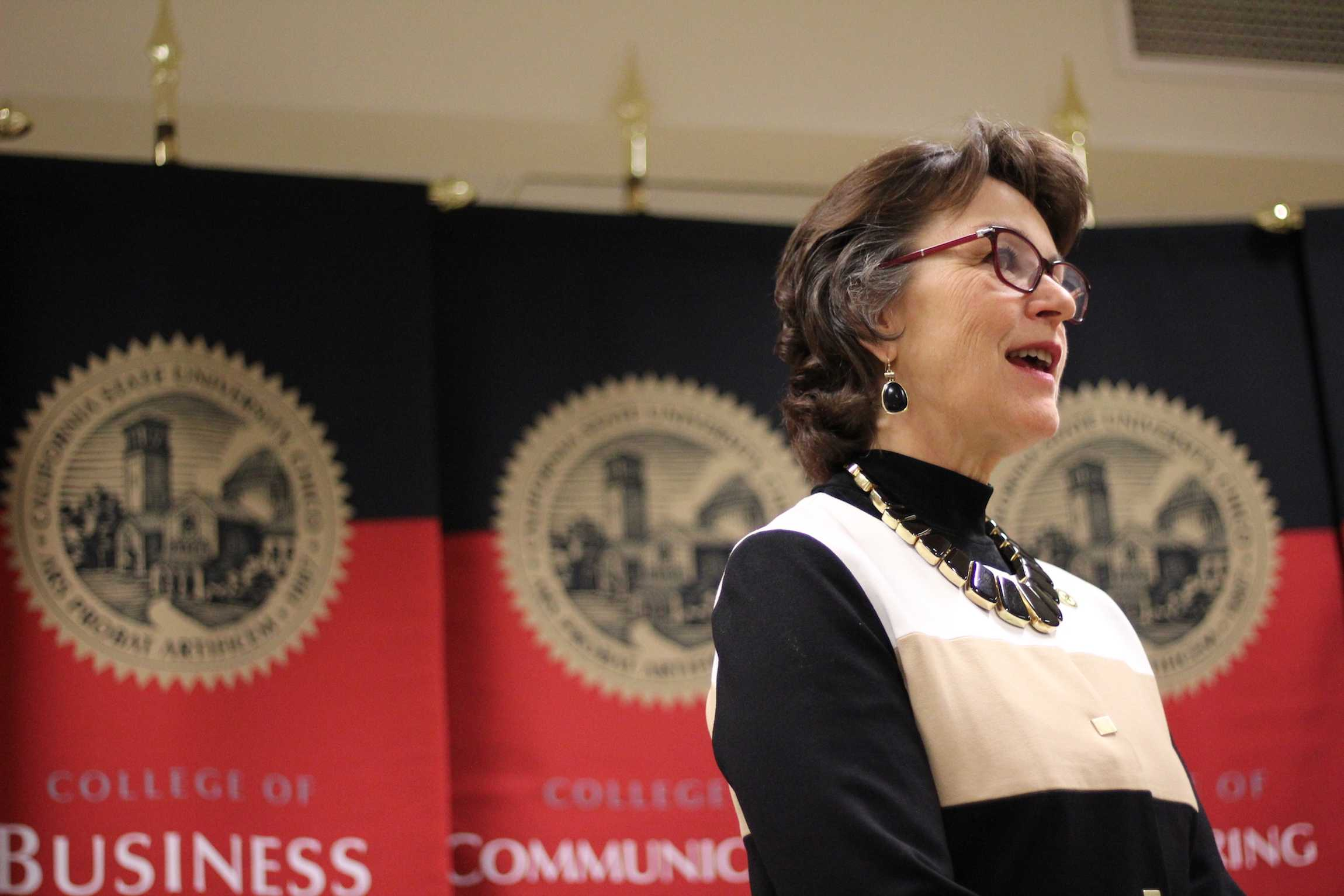 President Hutchinson speaks at a press conference before her investiture ceremony on March 2. Photo credit: Ben Hacker