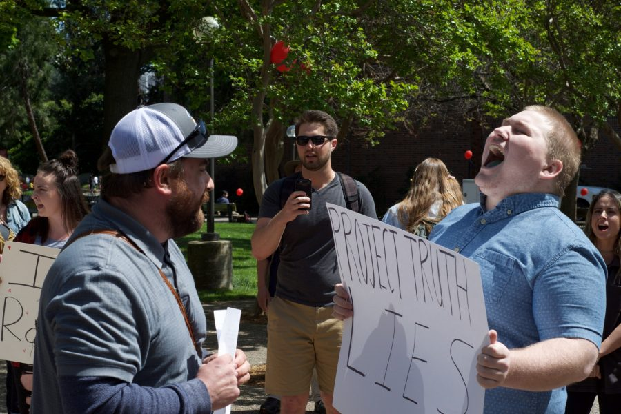 Bee Crosswhite opposes pro-life protester. Photo credit: George Johnston