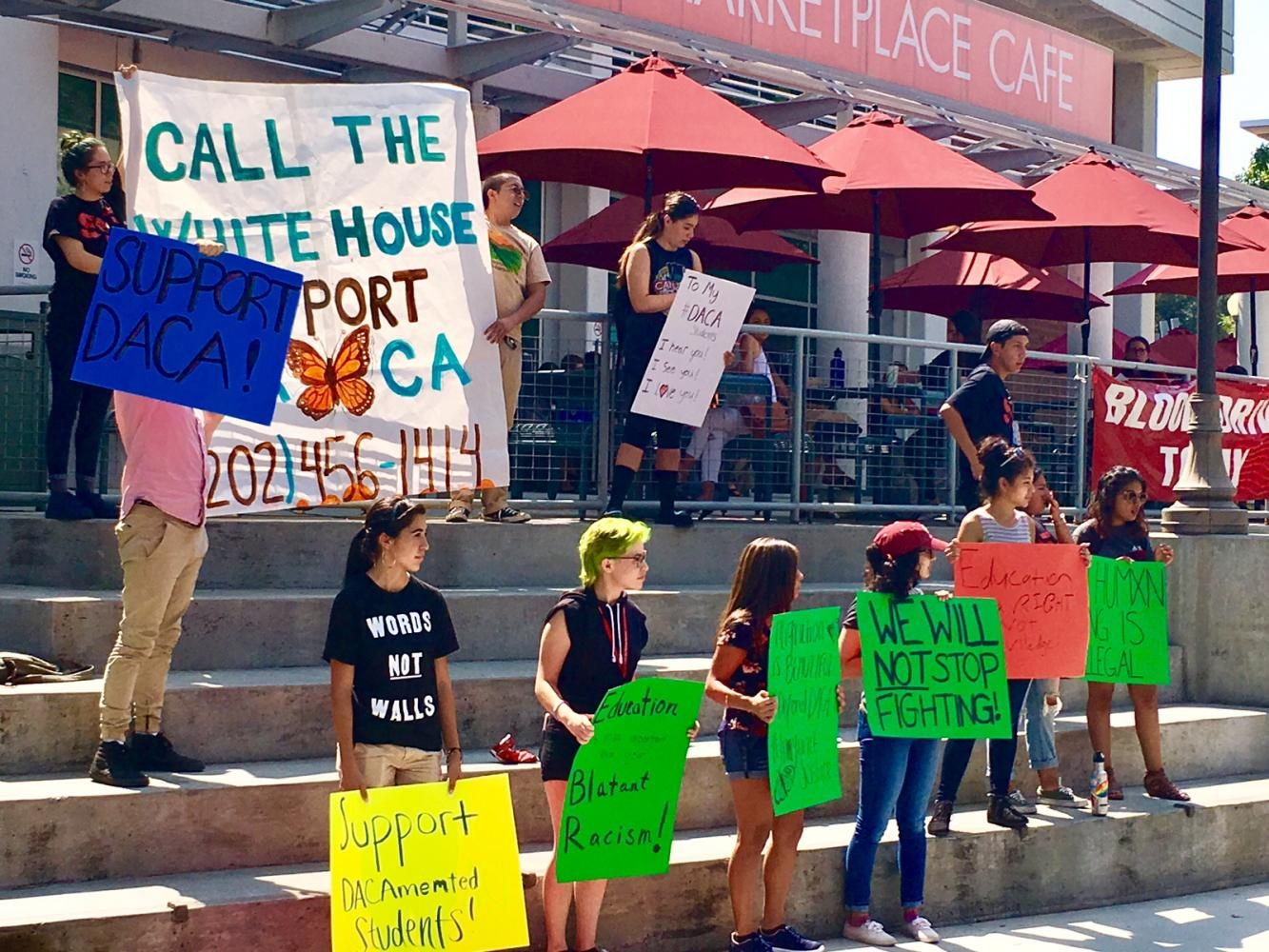 Chico students protest the DACA decision. Photo credit: Luke Dennison