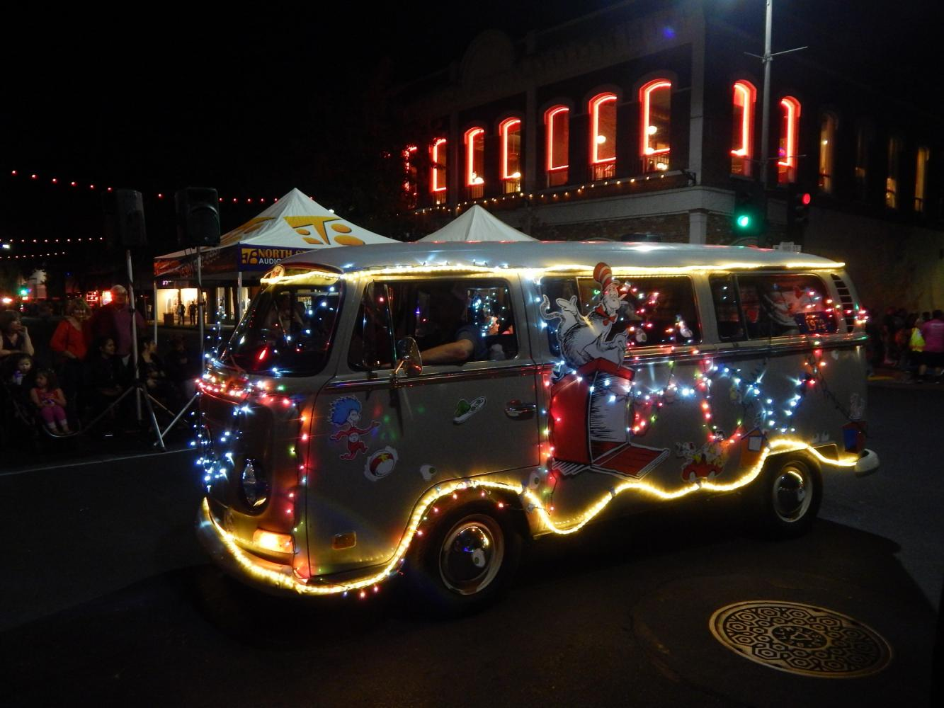 Chico community sparkles in electric light parade