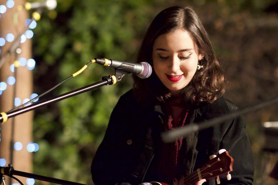 Karter Kaliher plays her ukulele as she sings her original songs. Photo credit: Caitlyn Young