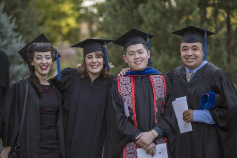 Suzie Nakao, Melanie Higgins, Xeng Thao, Jose Barron (left to right) and other graduate students in the Colleges of Business (BUS), Communication And Education (CME), Engineering Computer Science And Construction Management (ECC) were honored during their Master's Commencement Ceremony on Thursday, May 18, 2017 in Chico, Calif. The business department has achieved accreditation and high praises in 2018. Photo courtesy of Kelsey Horne and Jason Halley, University Photographer.
