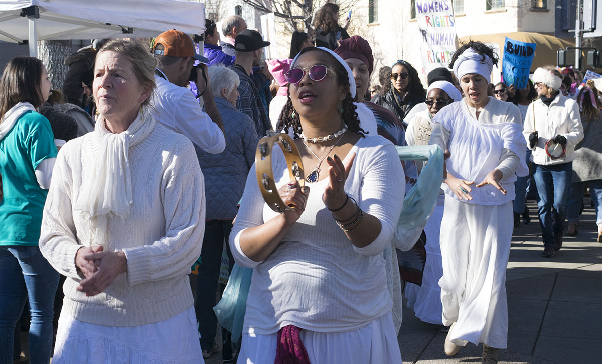 Dance company Nefertiti's Dozen, performed on stage pre-march and rang in the end of it with just as much energy. Women's March on Chico Saturday, Jan. 20, 2018.