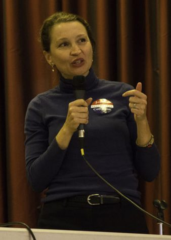 Jessica Holcombe speaks on various issues at a public forum on Jan. 27