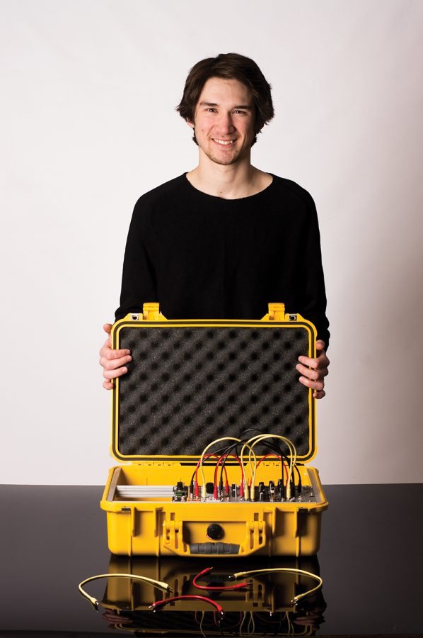 Hayden+Duncan+is+a+23-year-old+recording+arts+student.+He+refers+to+gear+as+his+console.+Photo+credit%3A+Sean+Martens
