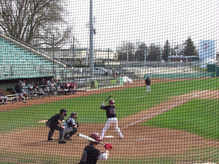 Center fielder Dustin Miller prepares to launch a home run in the 8th inning Photo credit: Austin Schreiber